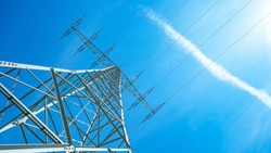 high-voltage power lines, power lines, transmission tower, electricity, energy, voltage, electric, tower, blue sky, sun shining, sunshines, sky, blue, background, banner, industry, panorama, power, vo