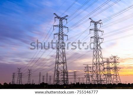High voltage power tower landscape at sunset #755146777