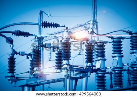 High voltage power transformer substation