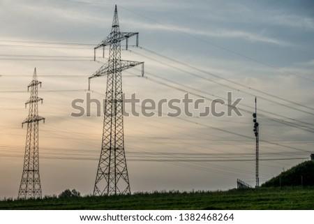 High voltage pylons and transmission pylons #1382468264