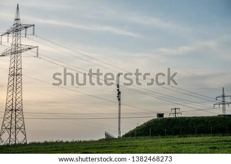 High voltage pylons and transmission pylons #1382468273