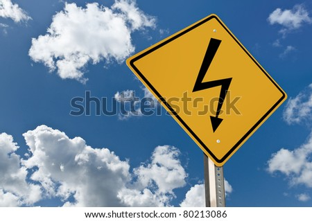 High voltage road sign