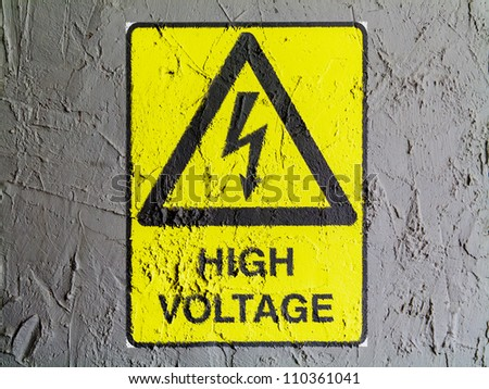 High voltage sign drawn at wall