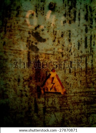 high voltage sign on grunge background