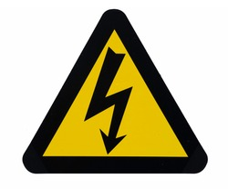 High voltage sign. Yellow triangle with black flash silhouette and black border. Isolated on white