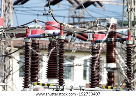 high-voltage substation with switches