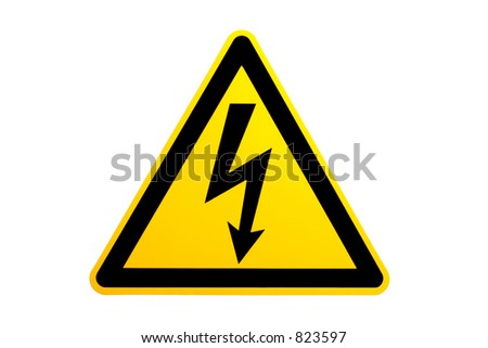 high voltage symbol over white. not a vector or illustration, unsharpened photo.