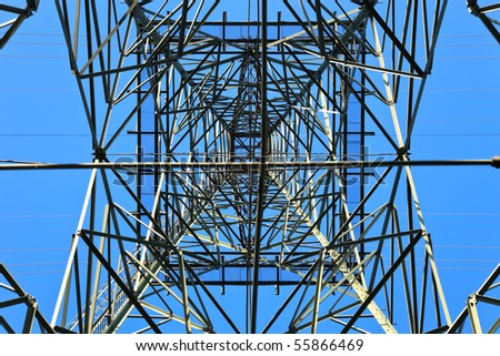High voltage tower on a background of the sky.