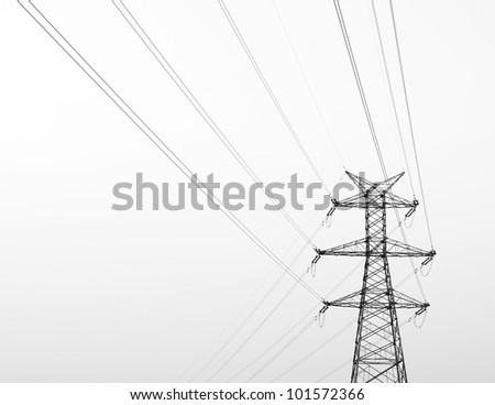 High-voltage tower sky background.