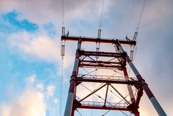 high voltage tower. time lapse of high voltage power lines. high voltage tower with power lines. Bottom view of high voltage pole power transmission tower.