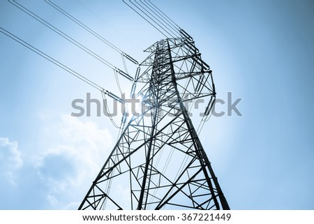 High voltage towers with sky background #367221449