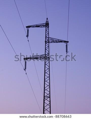 High voltage transmission line - stock photo