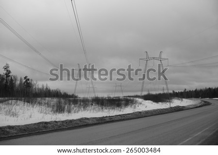 High-voltage transmission lines.\ black and white photo