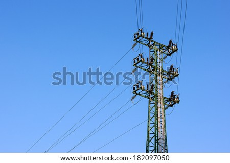 High voltage transmission tower with copy space #182097050