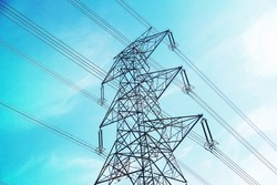 High voltage transmission towers line
