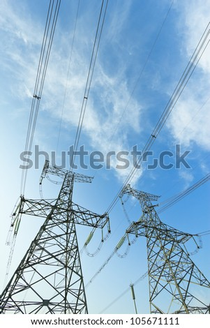 High voltage under the blue sky