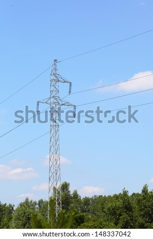 high-voltage wire tower electrical power lines and pylons against blue sky