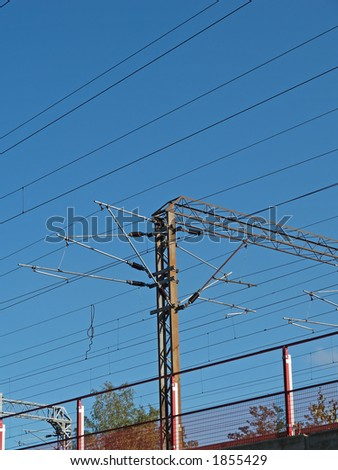 High voltage wires on railroad, view