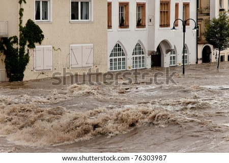 High water and flooding of streets in Steyr, Austria