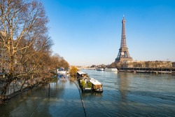 High water at the Banks of the Seine, Paris, France