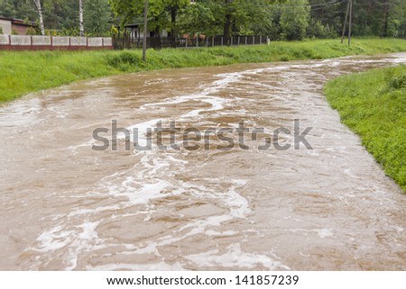 High water level in river - Zielona, Kalety, Poland, Europe. (11.06.2013)
