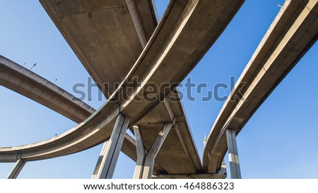 High way under clear blue sky, the curve of suspension bridge in Thailand #464886323
