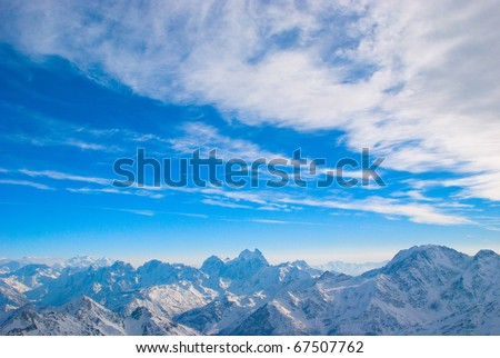 High winter mountains. Caucasus,