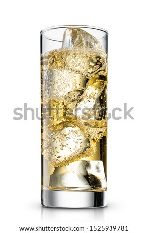 Highball, Whiskey soda in a glass cup isolated white