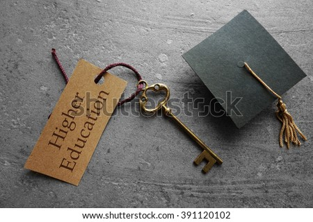 Higher Education key tag with graduation cap                                #391120102