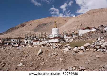 highest buddha temple on the earth - at the shoulder of mount everest
