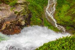 Highest freefall waterfall Vettisfossen from above in Utladalen Jotunheimen Norway. Most beautiful norwegian landscapes.