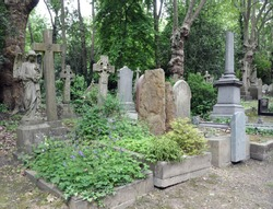 Highgate cemetary, London (England). Fairy tale memorial with its overgrown tombstones.