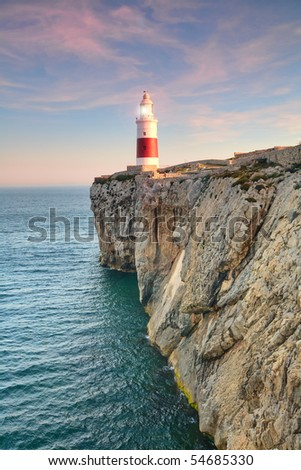 highground  Trinity lighthouse of gibraltar beaconing in the sunset