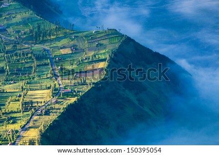 Highland village in Bromo Tengger Semeru National Park East Java Indonesia