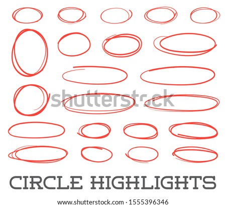 Highlight circles set. Raster collection. Hand drawn red ovals. Highlighting Text or important objects. Marker doodle sketch. Round scribble frames. Raster.