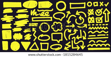 Highlight marker lines on black background. Doodle check marks with tick and cross in box. Curvy and dashed lines and geometric shapes. Arrow in different direction  illustration Photo stock ©