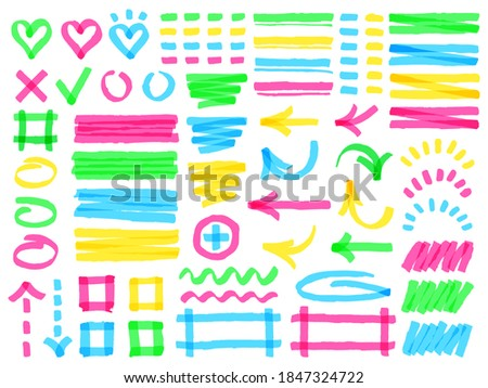 Highlight markers. Colorful marker strokes, yellow highlights arrows, frames and check marks, green hand drawn symbols  illustration set, different shapes as heart, square, rectangle Photo stock ©