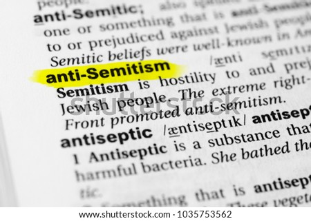 """Highlighted English word """"anti semitism"""" and its definition in the dictionary. #1035753562"""