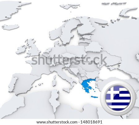 Highlighted Greece on map of europe with national flag