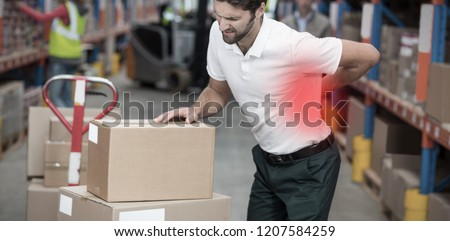 Highlighted pain against focus of worker having a backache