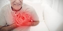 Highlighted pain against senior man having cardiac arrest