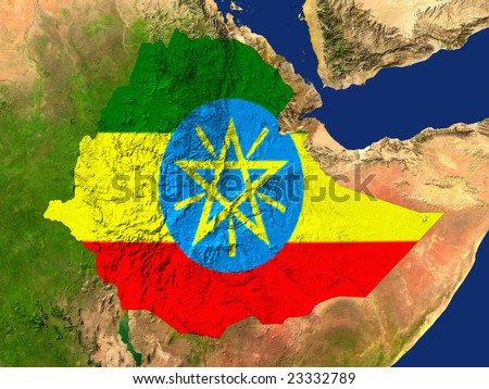 Highlighted Satellite Image Of Ethiopia With The Countries Flag Covering It