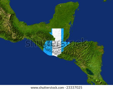 Highlighted Satellite Image Of Guatemala With The Countries Flag Covering It