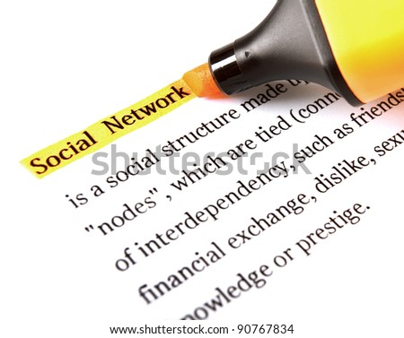 Highlighter and word social network concept background