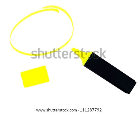 Highlighter pen with lid and shape, blank copy space for your me