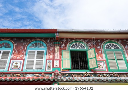 highly decorated shophouse fronts, Malacca, Malaysia