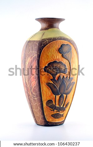 Highly Decorative Ceramic Flower Vase Decorated With A Beautiful ...
