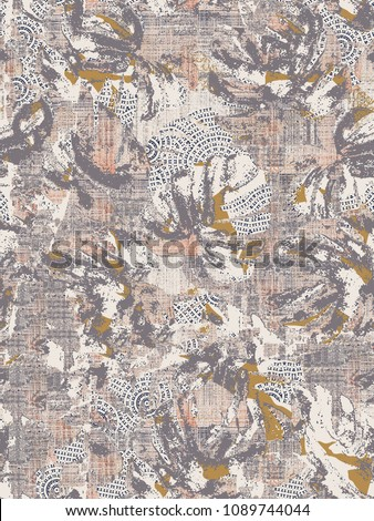 Highly detailed abstract mixed textured modern leafs texture or grunge background. Art texture, grunge design, vintage paper, border frame, carpet, rug, scarf, clipboard , shawl, cloth  pattern