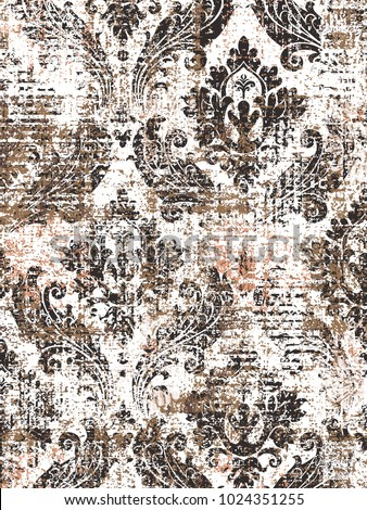 Highly detailed abstract texture or grunge background. For art texture, grunge design, and vintage paper or border frame, modern damask pattern for carpet, rug,  scarf, clipboard , shawl pattern