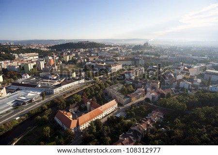 Highly detailed aerial city view, Spilberk Castle, Cathedral of St. Peter and Paul, Brno, Czech Republic